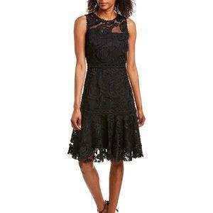 REISS Adian Dress Asym Hem Lace Dress Black Size 0